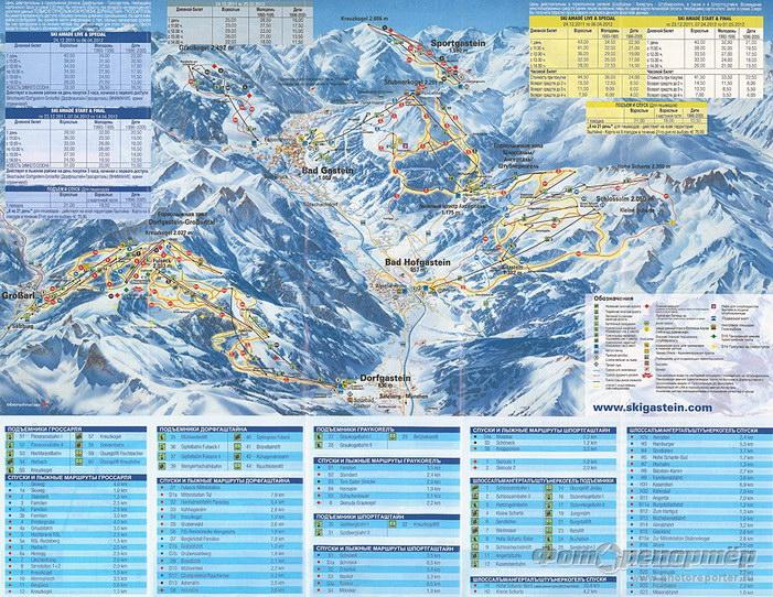 Схема лыжных трасс долины Бад