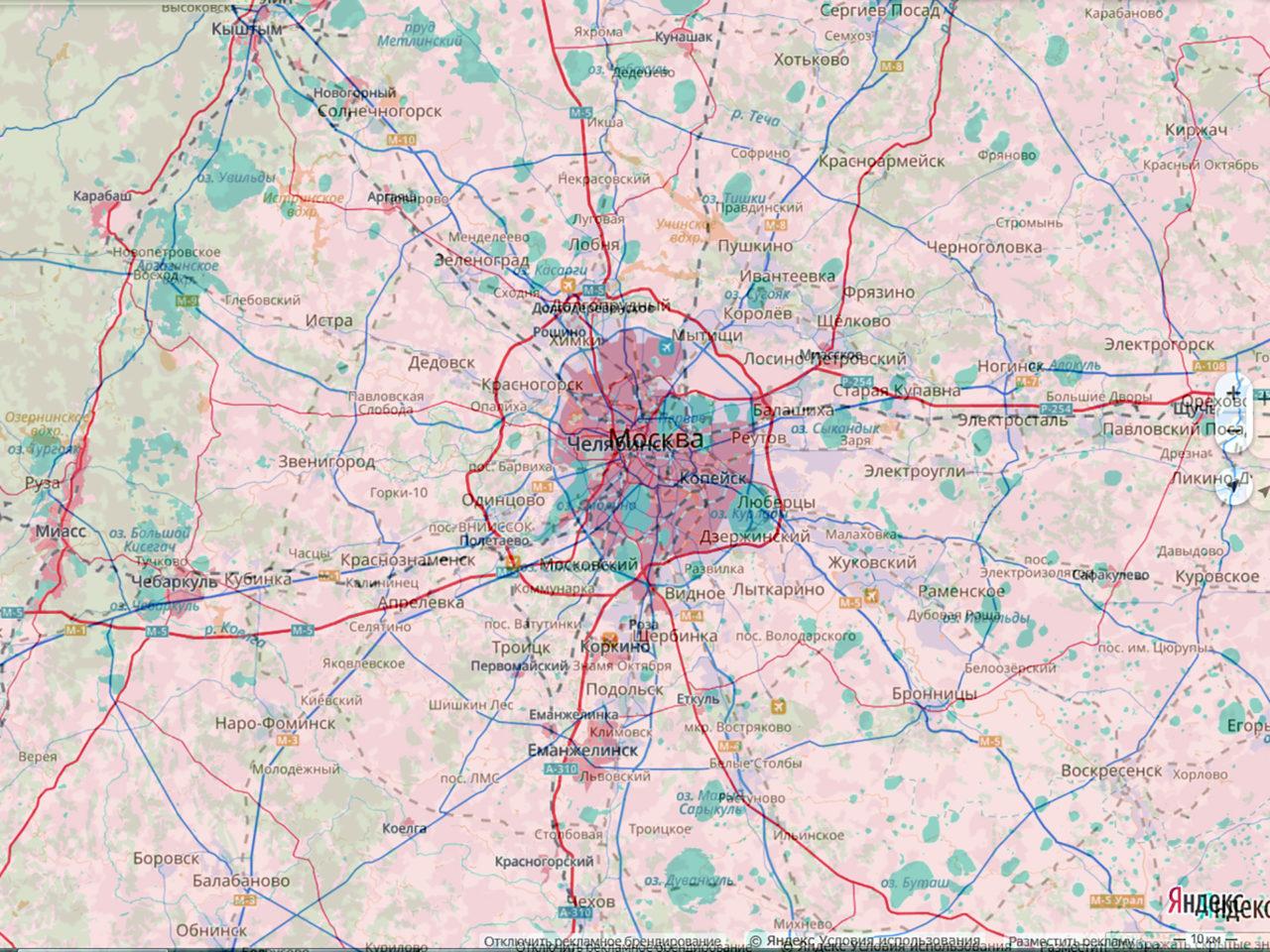 Сравнение территорий Москвы и Челябинска